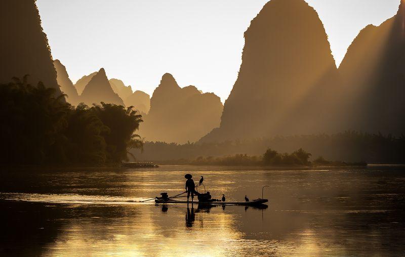 mountain, china, river, yangshuo, landscape Golden hourphoto preview