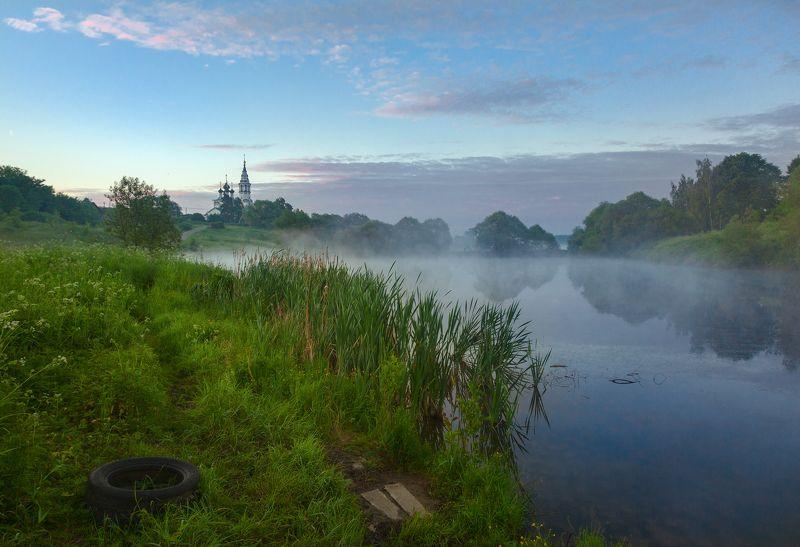 туман, храм, утро, село, валищево Летнее утро в селеphoto preview