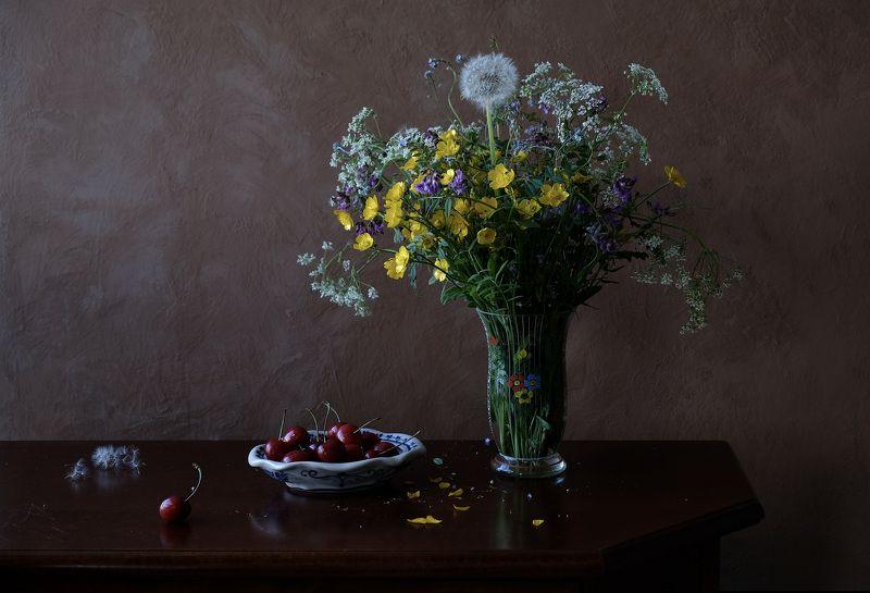 Still life, flowers, flora, colors, nature, Norway, fruit, food, summer, sweet cherry, dandelion, wildflowers,  Полевые цветыphoto preview