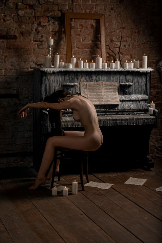 обнаженая, натура, девушка, красота, ню, музыка, пианино, свечи, вечер, nu, nude, beauty, msmphoto preview