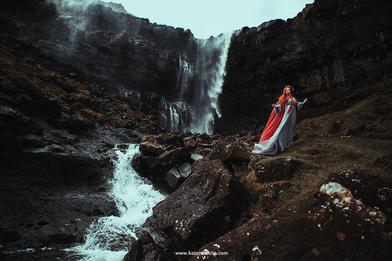 waterfall, fairy, scandinavian, myth, Valkyrie, woman, model, faroe, wild, island, cold, Waterfallphoto preview