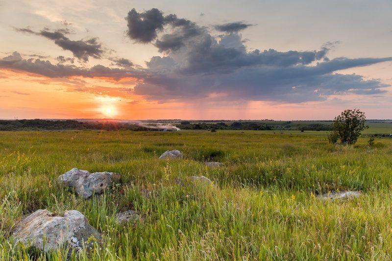 пейзаж, закат, весна, май, степь, облака Степьphoto preview