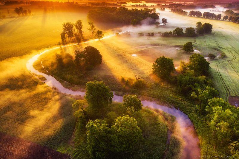landscape, poland, light, spring, awesome, amazing, sunrise, sunset, lovely, nature, travel, dji, mavic, river, fog, mist, mood, trees Golden hour фото превью
