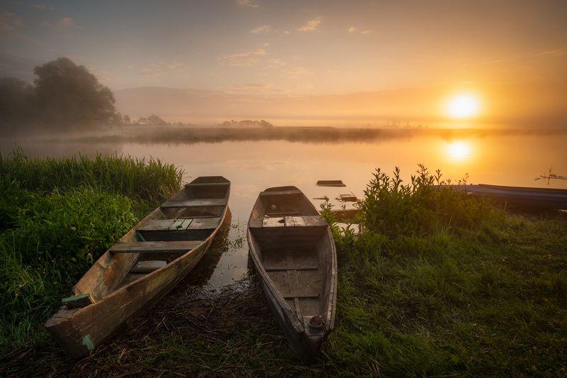 nature, landscape, colors, sunrise, river, biebrza, fog Biebrzański Park Narodowyphoto preview