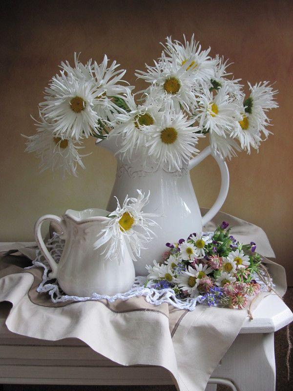 цветы, букет, ромашки, букетик полевых цветов, кувшины, салфетки Мохнатушкиphoto preview
