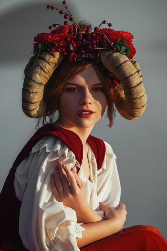 sky, clouds, horns, model, woman, sunset, fairy, fairytale, fantasy, fantastic, creative, sheep, shepherd Above the skyphoto preview