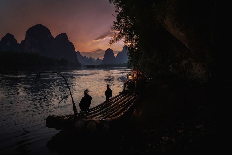 fisherman, china, yangshuo, cormorant A cormorant fishermanphoto preview