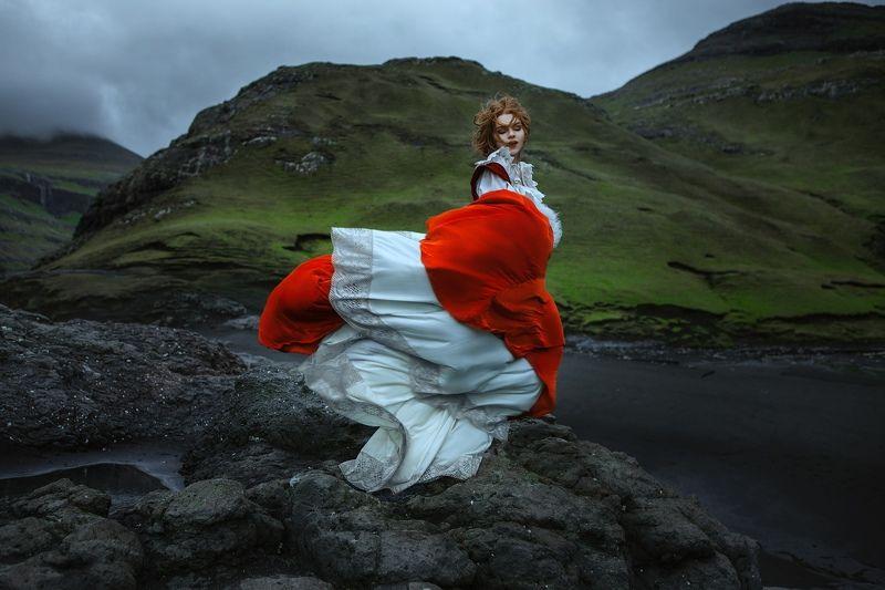 ocean, faroe, model, wind, dress, woman, girl, beauty, motion, rocks, wild,  Ocean breezephoto preview