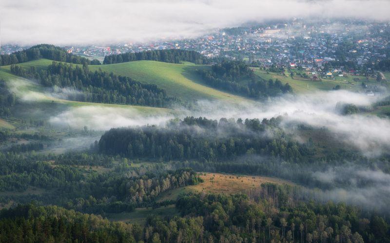 алтай, республика алтай, турочакский район, турочак, долина бии, утро туманное, туман, поселок, салоп, гора салоп Дыша туманамиphoto preview