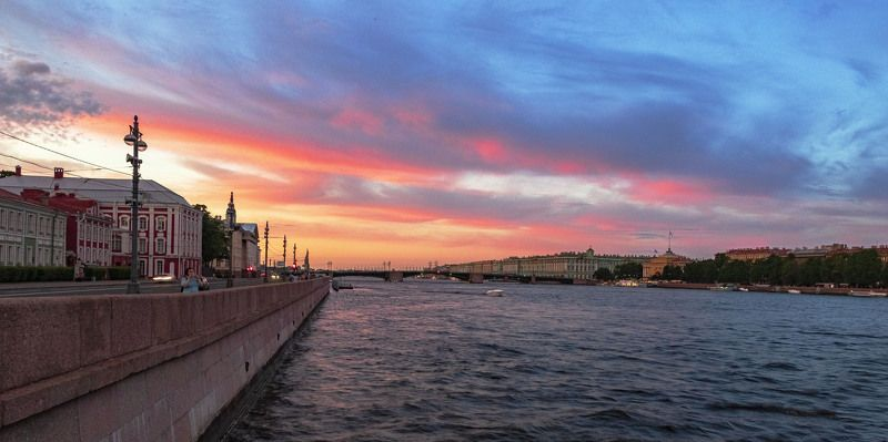 вечер, город, закат, небо, река photo preview