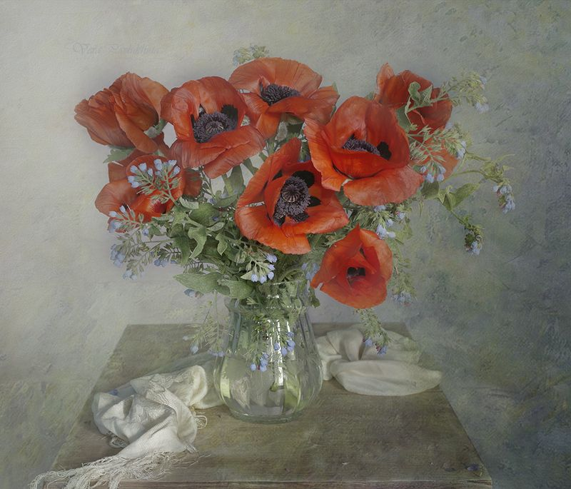 натюрморт,цветы,маки,лето,вера павлухина, Red poppiesphoto preview