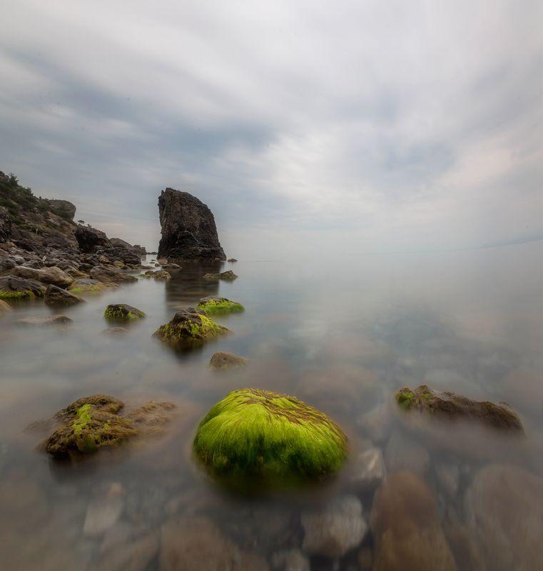 крым, море, экспозиция, камни Пасмурно и атмосферноphoto preview