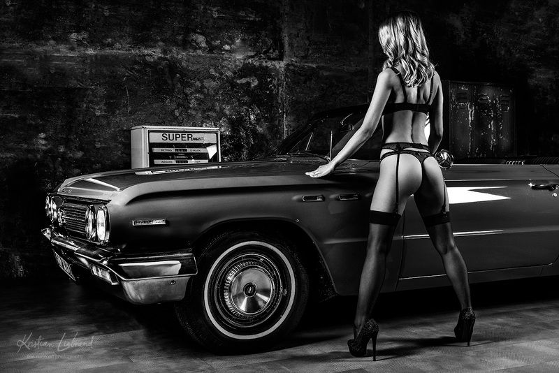 garage, classic car, car, automotive, girl, lingerie, model, blackandwhite, racing, stockings, nylons, underwear, highheels classic car pinupphoto preview