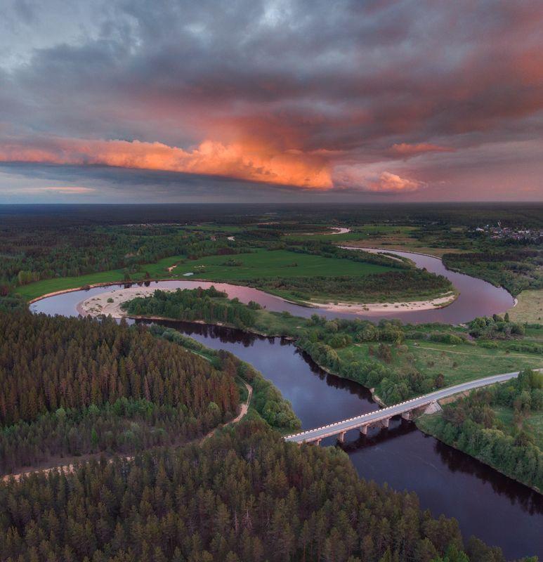 пейзаж,россия,север,лето,река,закат Кокшеньга на закатеphoto preview