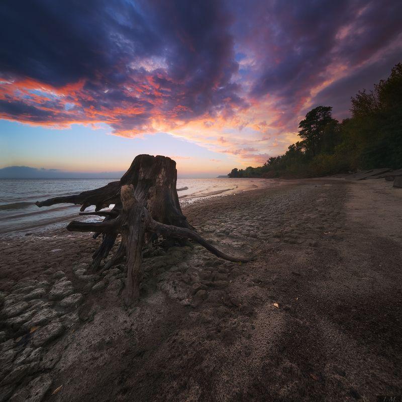 вечер, пейзаж, сумерки, небо, облака, пляж, море, осень, настроение, lost, autumn, sea, wood, red, sky, clouds, landscape, evening, rest, moody Lost in rest ..photo preview