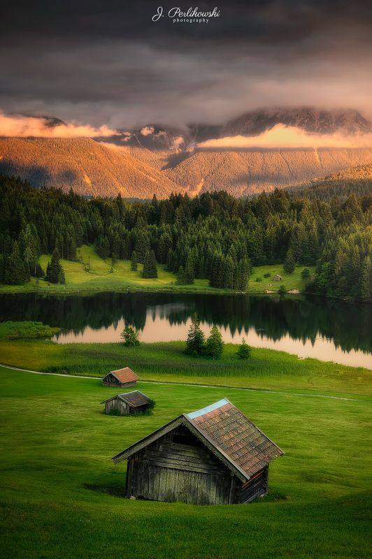 mountains, clouds, green,spring, fields Bavarian Alpsphoto preview