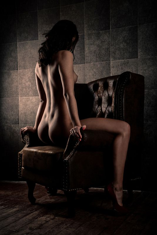 model, girl, back, butt, legs, chair, boudoir, nude, naked, highheels, sexy sit downphoto preview
