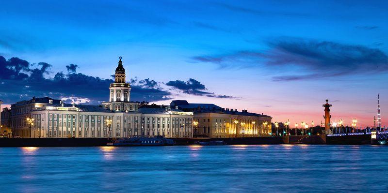 город, ночь, архитектура, город, небо Белая ночь с видом на Кунсткамеруphoto preview