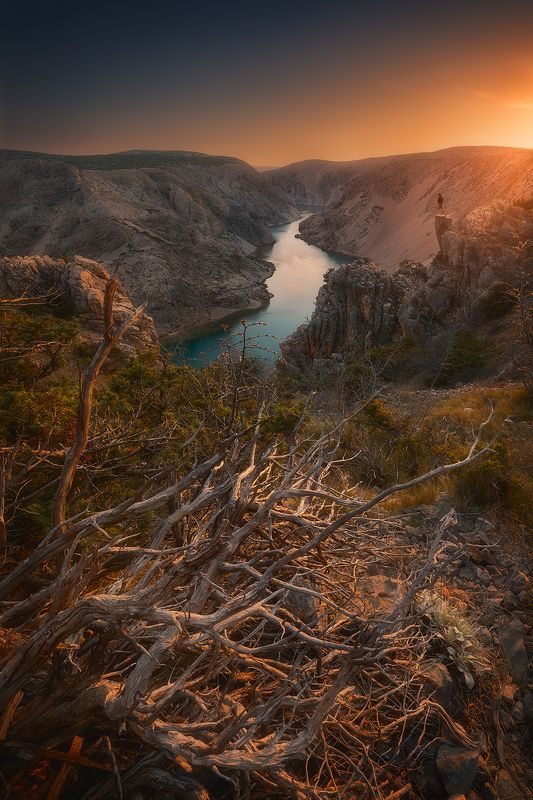 croatia, landscape, sunset, sky, river, rock, tree, summer  zrmanjaphoto preview