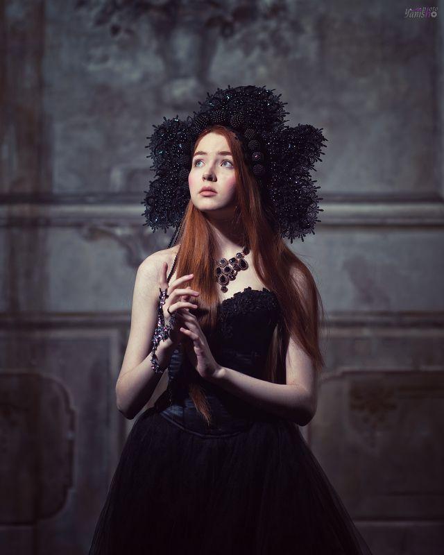 портрет, студия, ренессанс, черный, рыжая, девушка, история, исторический портрет Ренессансphoto preview