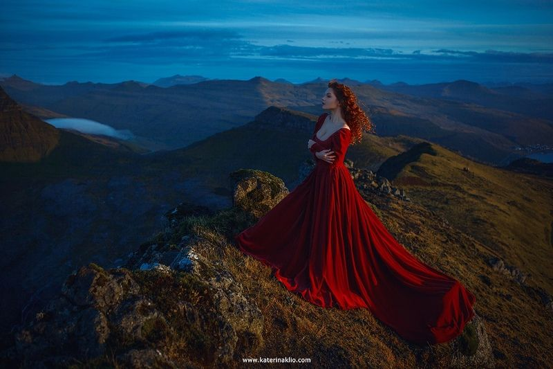 woman, portrait, faroe islands, mountains, clouds, red, dress, travel, model, sky, hight, morning, sunrise Above the skyphoto preview