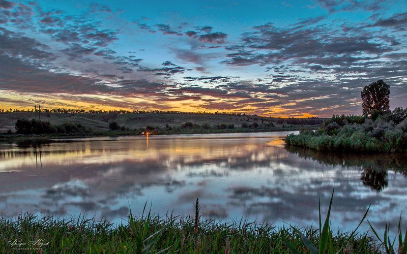 рассвет, утро, небо, облака, отражения, рыбалка Мой костёр в тумане светит...photo preview