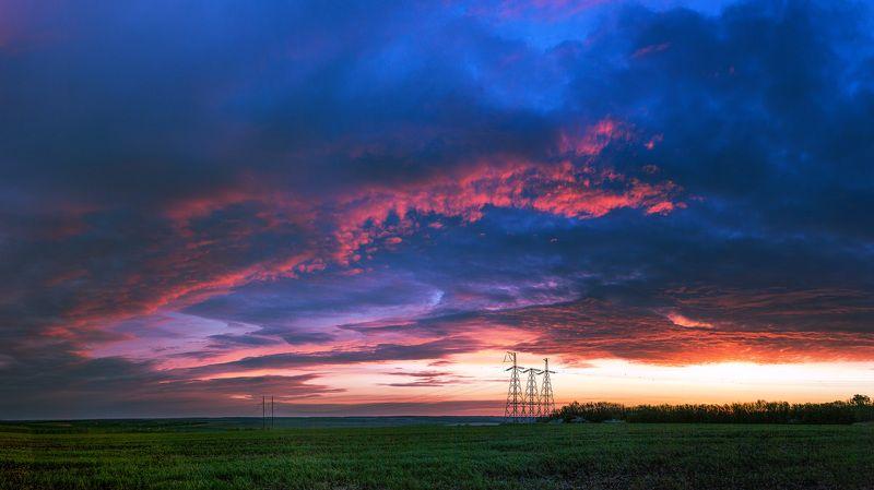 пейзаж, рассвет, весна, май, landscape, power lines, лэп Through power linesphoto preview