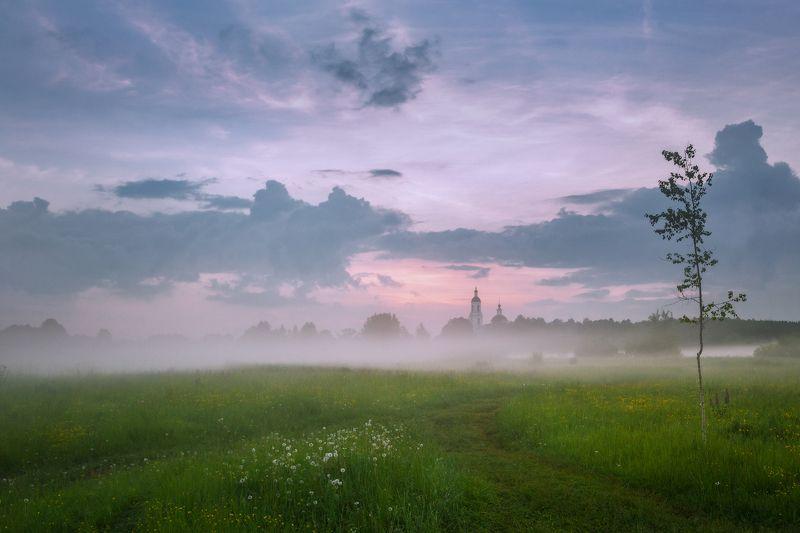 туман, храм, село, Владимирские просторыphoto preview
