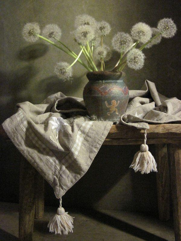 цветы, букет,.одуванчики, салфетка, лен Пушистенький фото превью