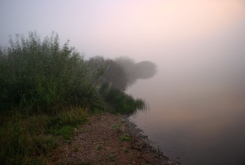 лето, рассвет, туман, река, Берег левый берег ...photo preview