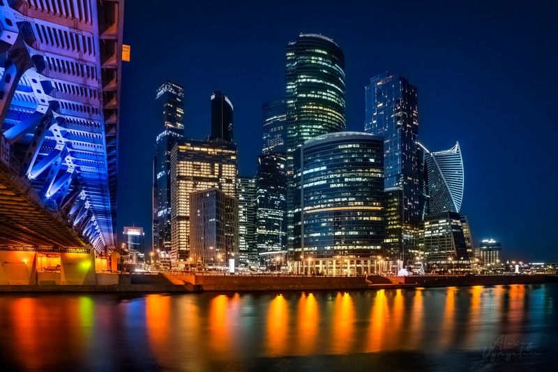 moscow, moscowcity, night, long exposure, lights, reflections, water, outdoor, urban Москва-Ситиphoto preview