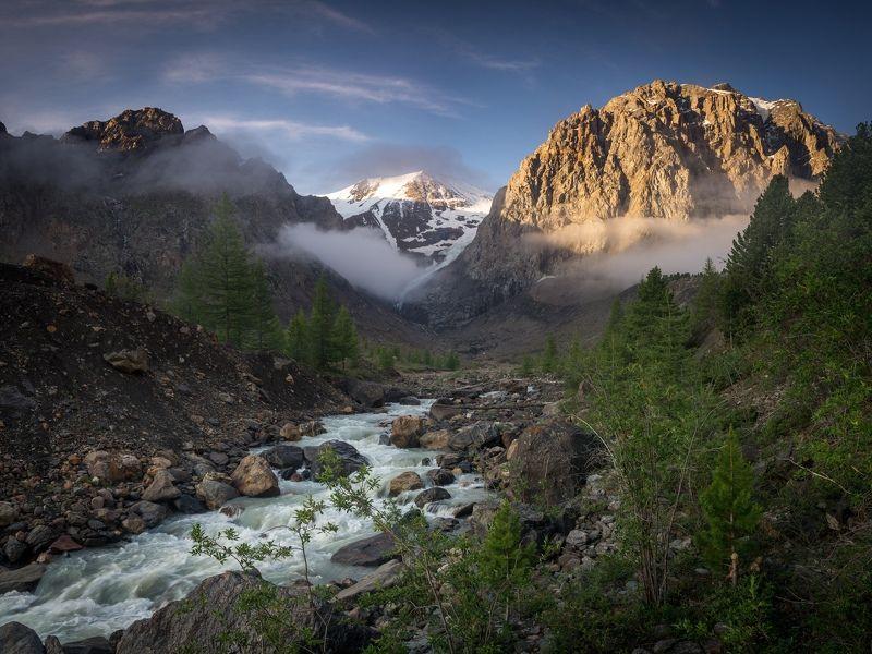 горный алтай, актру, пейзаж, горы, северо-чуйский хребет Летнее утро на р. Актруphoto preview