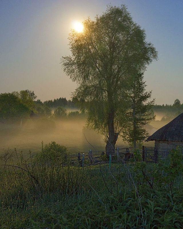 полнолуние, туман, деревня Лунный туманphoto preview