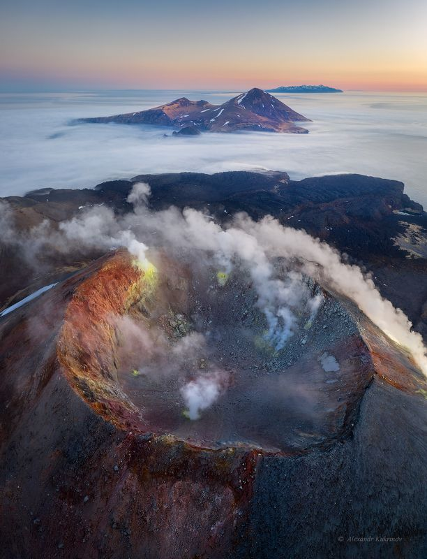 курилы,пейзаж,закат,аэрофото Дыхание Курил...photo preview