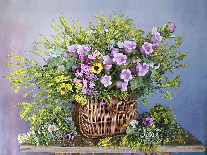 натюрморт,цветы,колокольчики,травы,лето,вера павлухина, Розовый перезвон июня .photo preview
