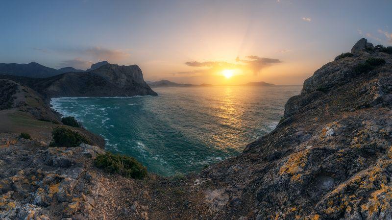 Крым, природа, рассвет, море, горы, пейзаж, Новый свет, Копчик Крымphoto preview