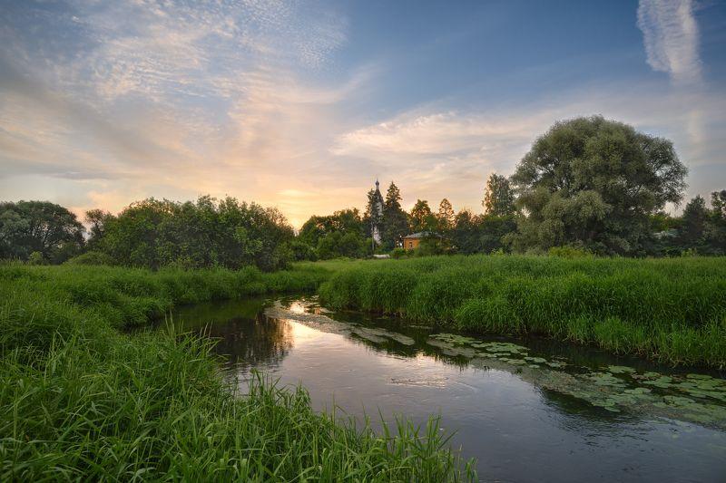 вечер,закат,река,церковь,небо,облака вечер в Казанскомphoto preview