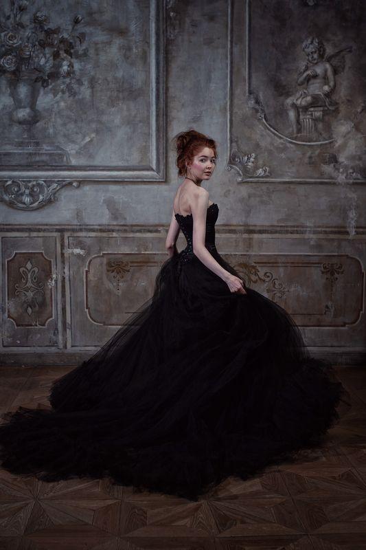 портрет, студия, ренессанс, черный, рыжая, девушка, история, исторический портрет photo preview