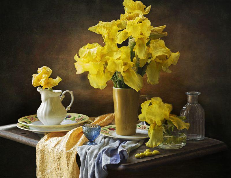 жёлтые ирисы, весна, натюрморт Жёлтые ирисыphoto preview