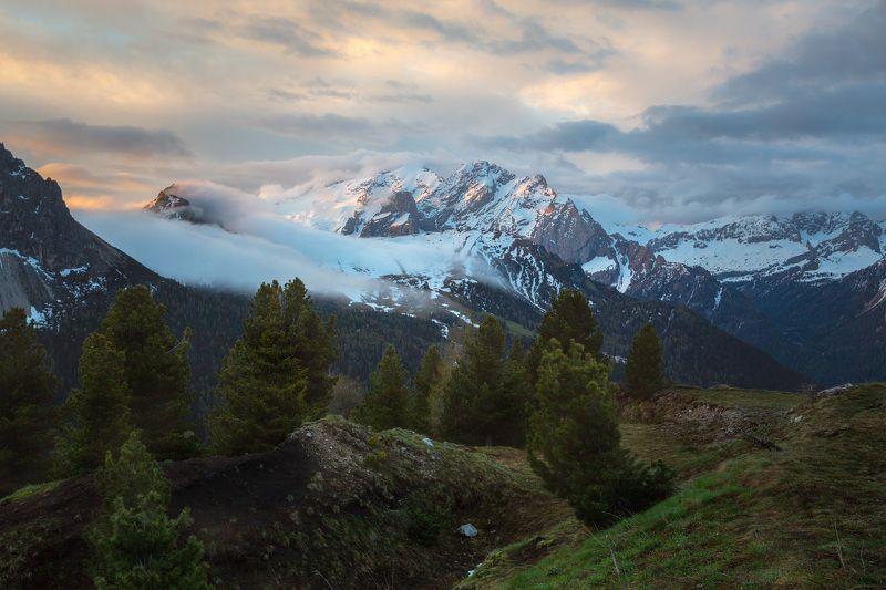 италия, доломиты, горы, облака, восход, природа, landscape, italy, dolomites, golden hour, golden light, sunrise Альпийский пейзаж.photo preview