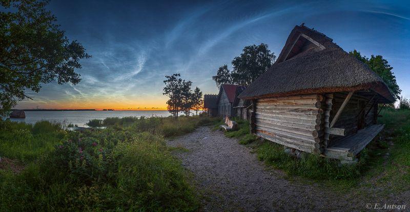 пейзаж,  природа,  море,  ночь,  эстония Летняя ночь в рыбацкой деревне фото превью