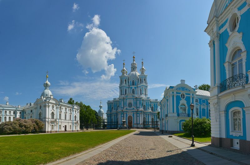 санкт-петербург, смольный монастырь, растрелли Синий полденьphoto preview