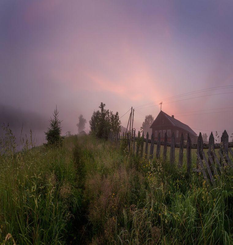 вепсский лес, деревня, сумерки, север, русская деревня, север Деревенское утро.photo preview