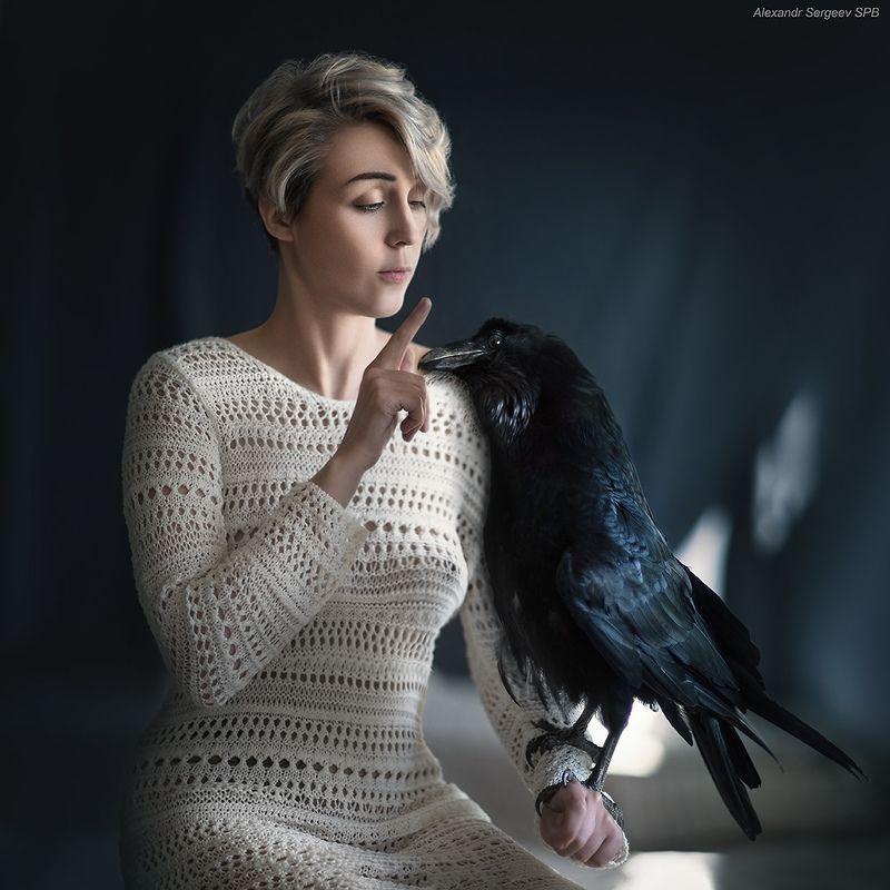 девушка,ворон,питомцы,дружба,птица,отношения \