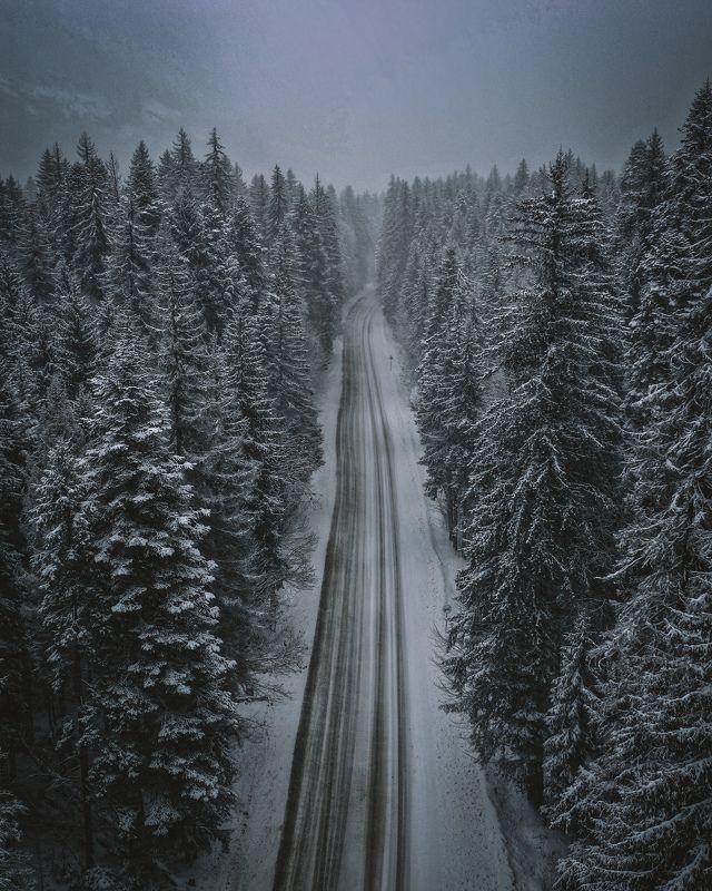 эльбрус, аэросъемка, снегопад Снегопад по дороге к Эльбрусуphoto preview