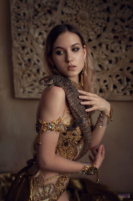 портрет, девушка, студия, ящерица, варан, мифология, история Варанphoto preview