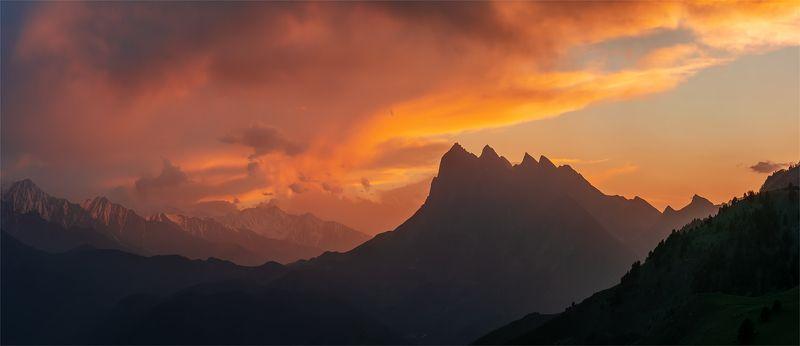 природа, пейзаж, горы, кавказ, природа россии, дикая природа, закат, свет, облака, вечер, ингушетия Цей - Лоамphoto preview