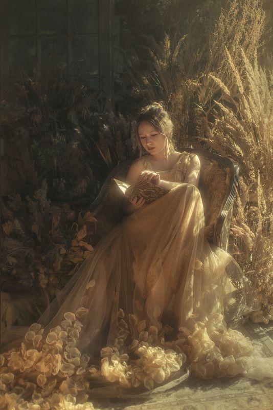 женский портрет, портрет,  осень,  сухоцветы, свет,  диогональ, Диагонали светаphoto preview
