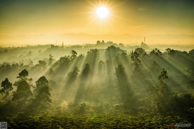 quanphoto, landscape, morning, sunrise, dawn, city, cityscape, rays, sunlight, trees, valley, vietnam SunRays Morningphoto preview