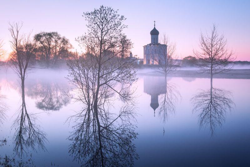 туман, храм, утро, боголюбово Весеннее утро в Боголюбовоphoto preview